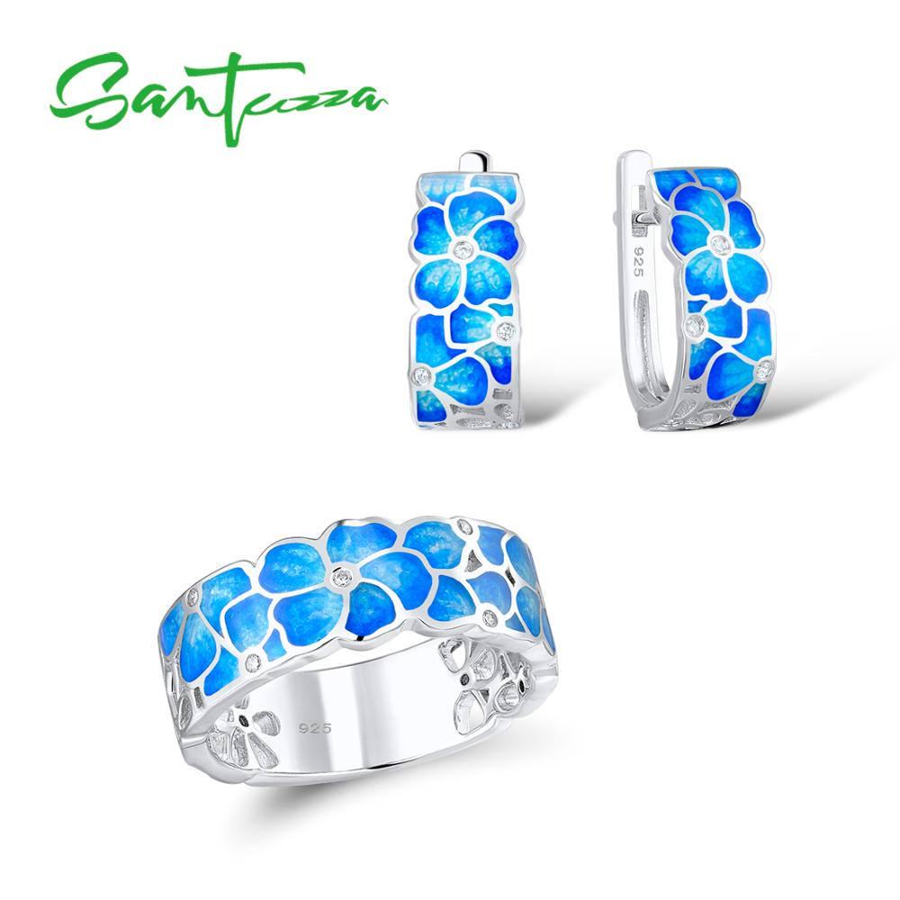 Santuzza Jewelry Set HANDMADE Colorful Enamel White CZ Stones Flower Ring Earrings 925 Sterling Silver Women Fashion Jewelry Set