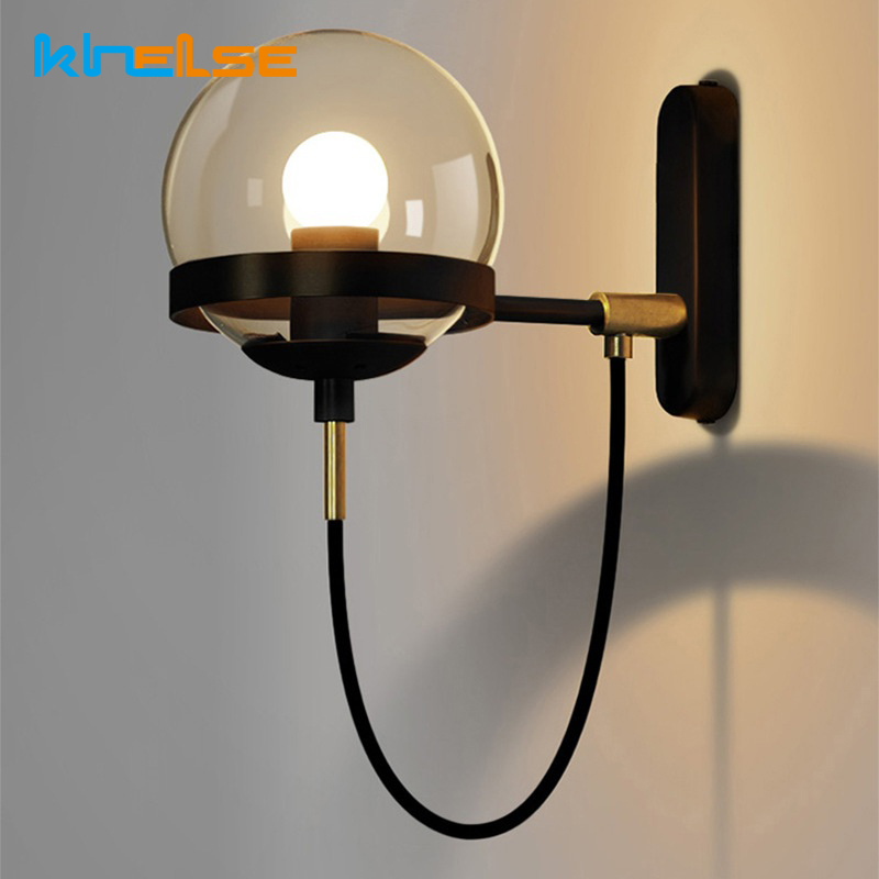 Retro Lamp Wall Sconce Modern Wall Light Glass Ball Dining Bedroom E27 Wall Lamp Restaurant Aisle Corridor Pub Cafe Wall Lights(China)
