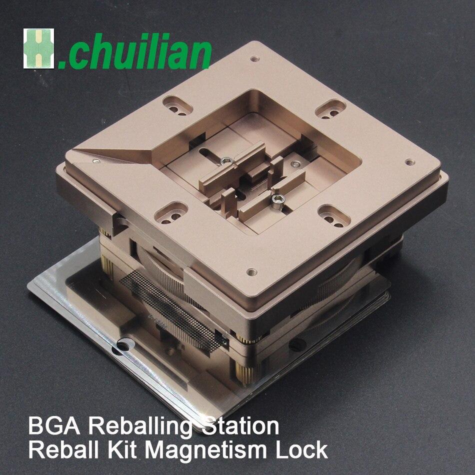 Bga reballing estação kit 90*90mm 80*80mm bga reballing estação com 10/pces bga universal estêncil solda bolas