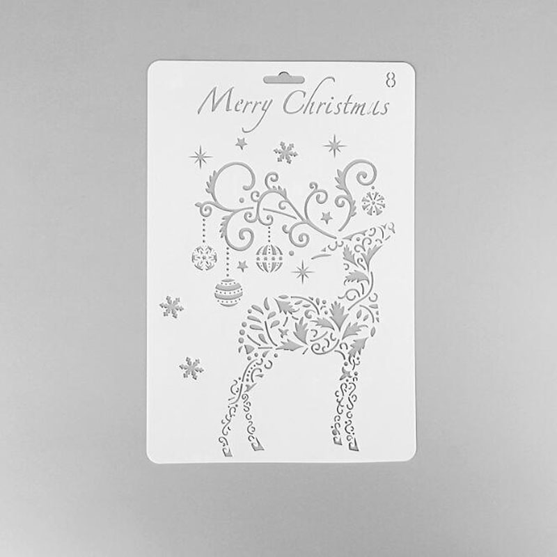 Christmas Moose Decor Layering Stencils For Wall Stencil Reusable Scrapbooking Stencils Embossing Paper Card Christmas Stencils