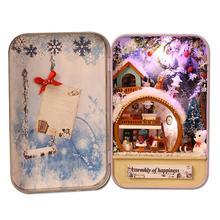 LeadingStar DIY Kits Modelo de Casa De Bonecas CAIXA de TEATRO com Caixa de Ferro Pequena Casa De Brinquedo Caixa Secreta Presentes do Aniversário Da Menina presente de Natal