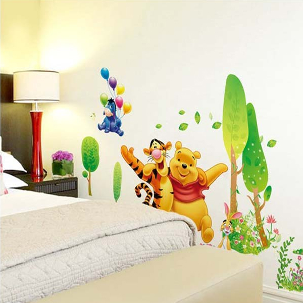 2016 New Hot Sale Large Size Removable WINNIE THE POOH Trees Wall Stickers  TigerBear Play Wall