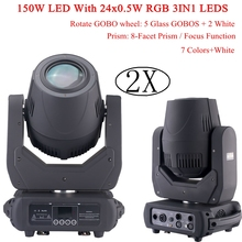 NEW Stage Light 150W LED With 24x0.5W RGB 3IN1 LED Moving Head Beam Lights/ Gobo Wheel 8 Facet Prism Dj DMX Disco Stage Lights