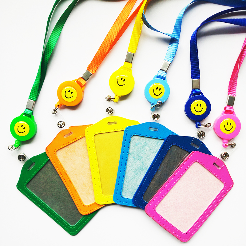 Bank Credit Card Holders PU Neck Strap Card Bus ID Holders Identity Badge with Smile Face Retractable Reel Lanyard wholesale
