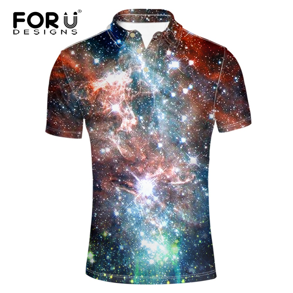 forudesigns fashion galaxy space pattern polo shirt men