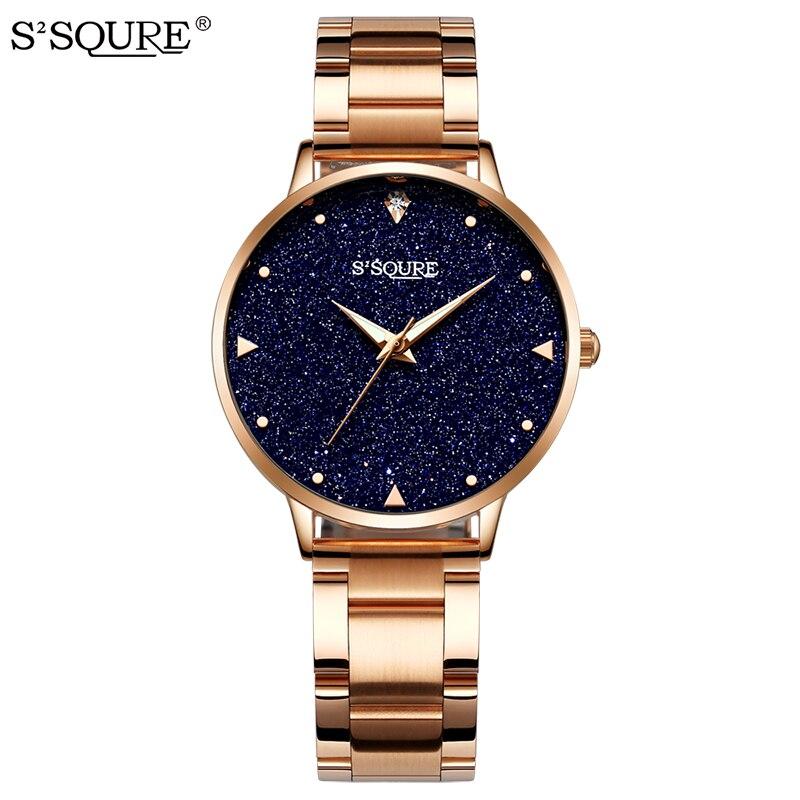 Женские кварцевые часы, розовое золото из нержавеющей стали с синим циферблатом из песчаника, аналоговые кварцевые женские часы под платье