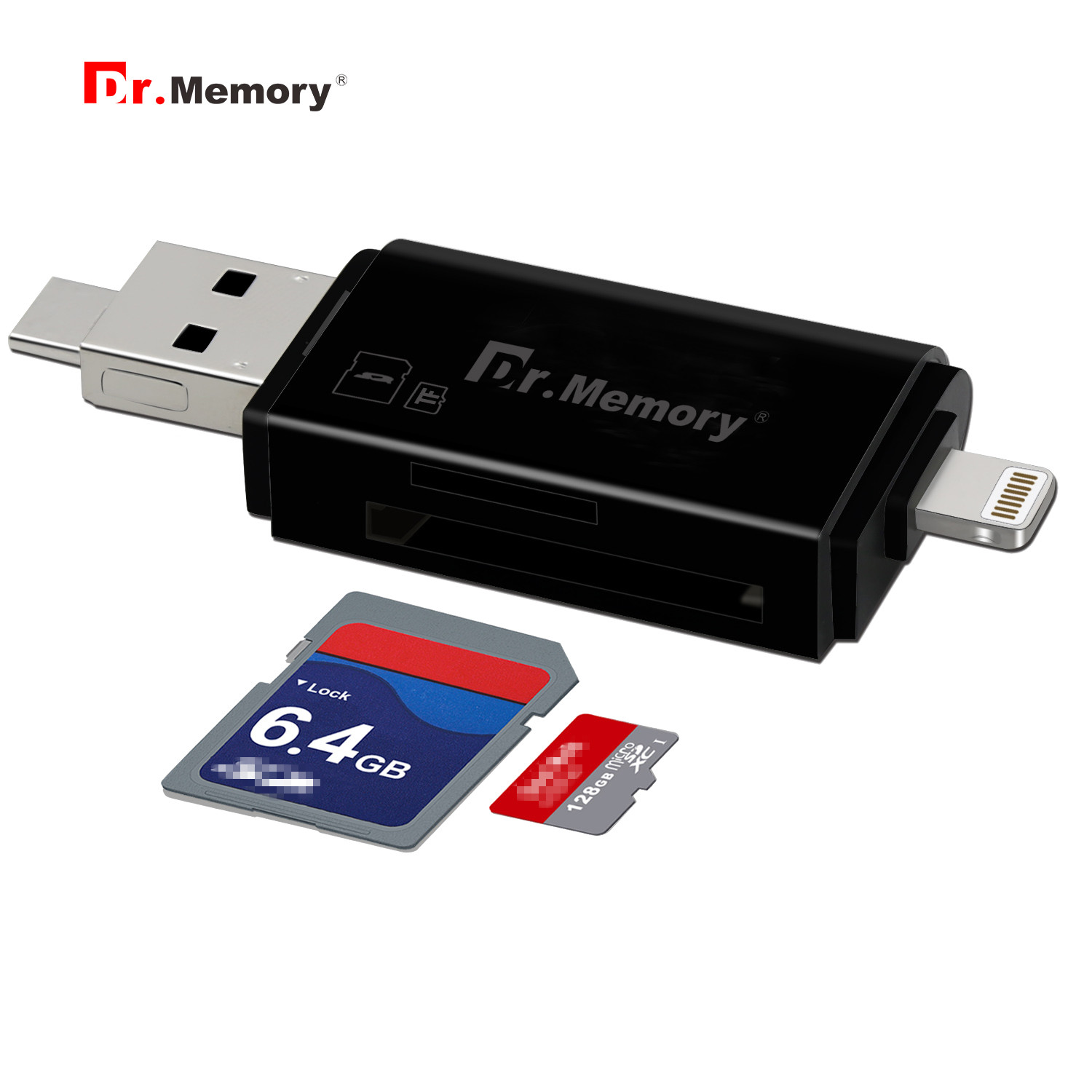Dr.Memory 3 in 1 Memory Card Reader For Lightning/Micro/USB 2.0 Micro SD Card/TF Card OTG Reader For</