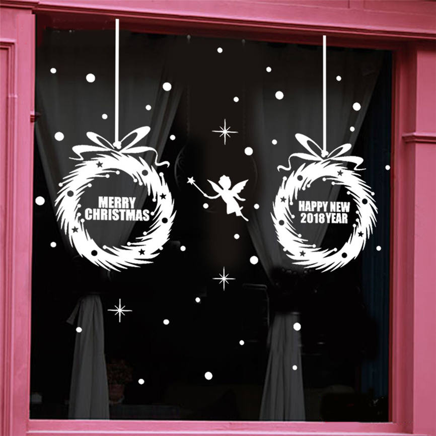 Wallpaper Sticker New Year Merry Christmas Tree Wall Sticker Home Shop Window Decals Decor 80*50cm Wallpapers For Living Room B#