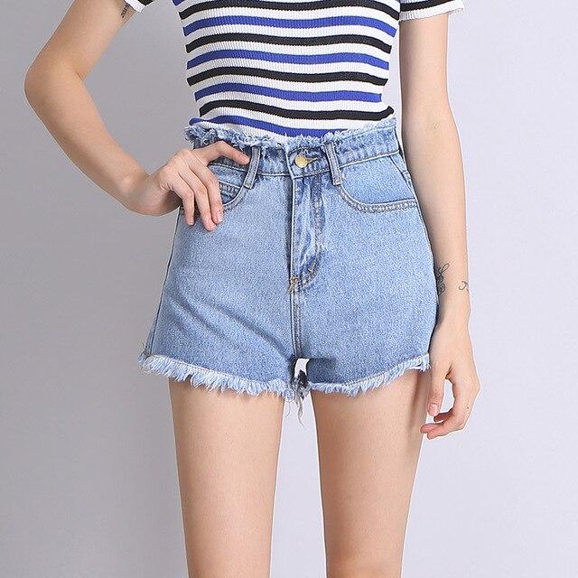 9d9aaac4caaa89 Women Shorts Korean Wild Tide Beach Denim Shorts Light Blue Ladies Hot  Shorts Fashion Summer High
