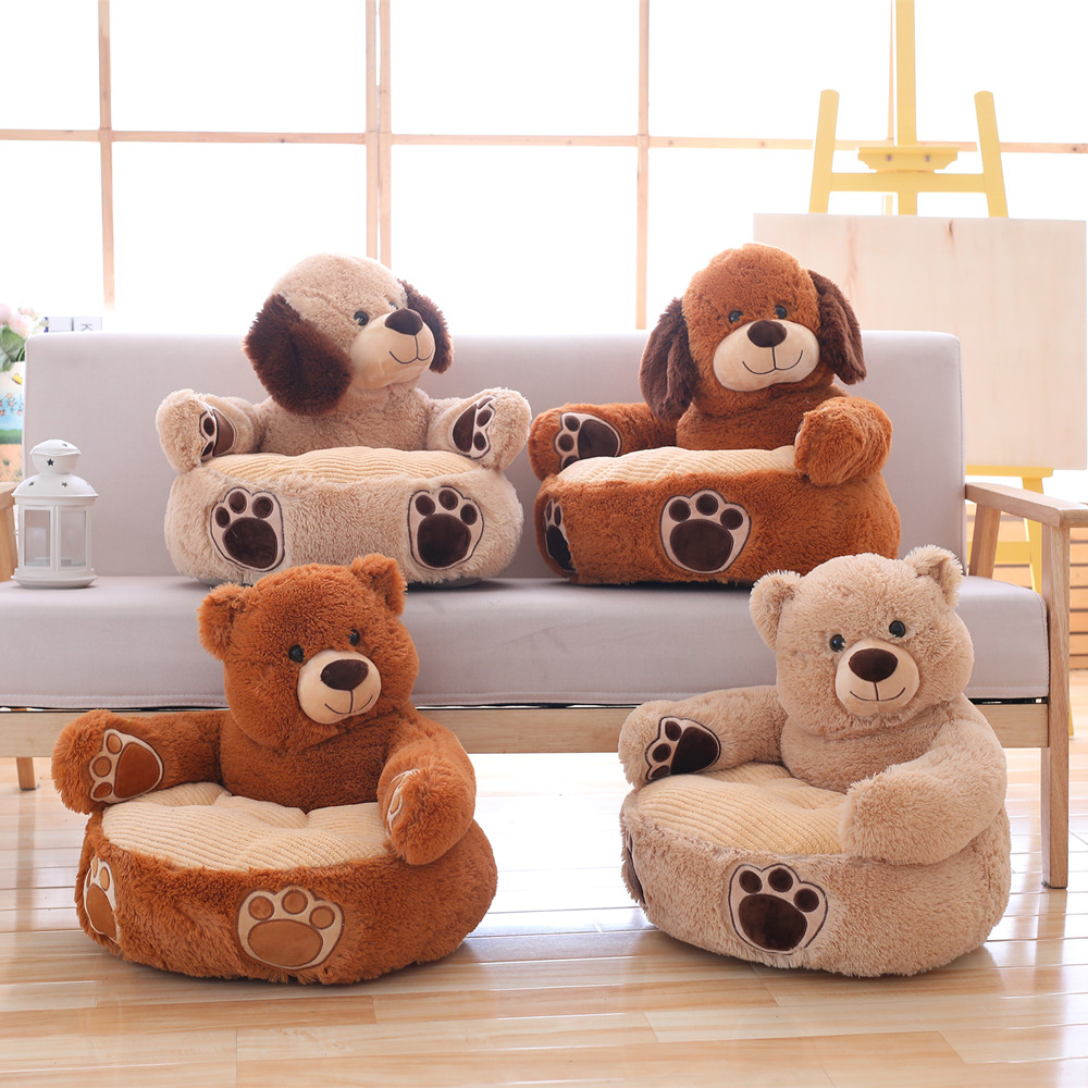 New 45cm Kawaii Bear & Dog Plush Baby Seat Support Seat Soft Sofa Cotton Safety Travel Car Seat Pillow Plush Legs Feeding Chair