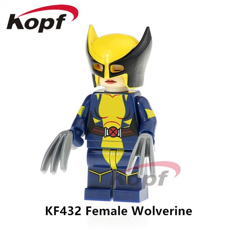 50Pcs KF432 Super Heroes Building Blocks Female Wolverine Iron Man Spiderman Bricks Collection Action Model Children Gift Toys