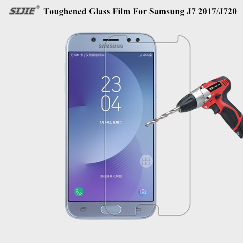 9H Tempered Glass For Samsung Galaxy J7 2017 Screen Protector smartphone Sam J720 protective Toughened glass film cover in Phone Screen Protectors from Cellphones Telecommunications