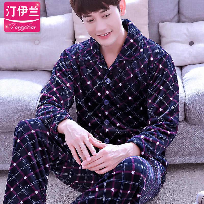 b068c742fcae Detail Feedback Questions about Men Pajama Sets Winter Flannel Warm ...