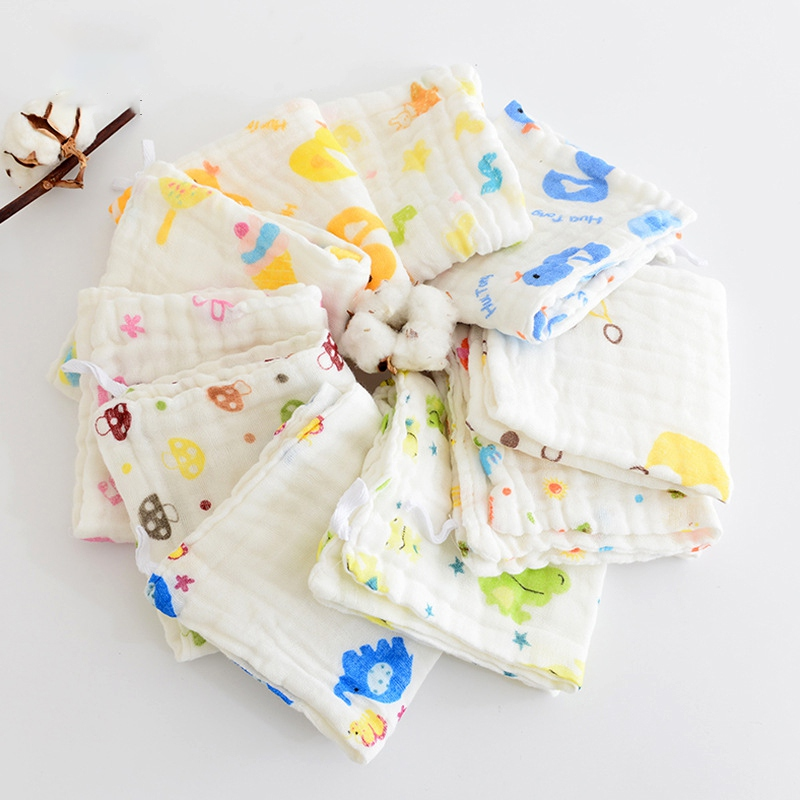 30*50 Gauze Muslin Organic Cotton Baby Towels Infant Feeding Appease Face Cloth Square Wipe Wipe Handkerchief Scarf Bath