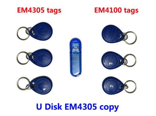 Free shipping, RFID 125Khz Copier U disk with software , ID Card Copy writer + 3pcs copied EM4305 Tag+3pcs em4100 tags,min:1pcs ...
