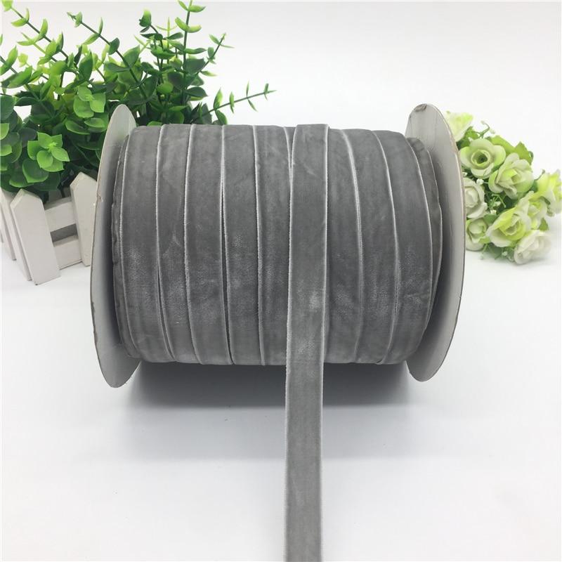 """5 ярдов 5/""""(15 мм) бархатная лента для украшения свадебной вечеринки лента ручной работы подарочная упаковка бантик для волос DIY Рождественская лента - Цвет: Grey"""