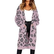 OEAK leopardo largo Cardigan mujeres 2018 Otoño Invierno punto abierto  suéter Cardigan Casual negro Rosa Jumper 866518bc2623