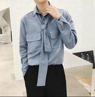 2018 spring new solid color long sleeved shirt tide men's personality small square collar loose Slim shirt