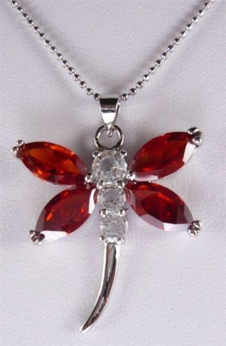 Venta caliente nuevo Estilo>>>>> Encanto 2 colores Rojo/Púrpura de Cristal de la Libélula Colgante de Collar