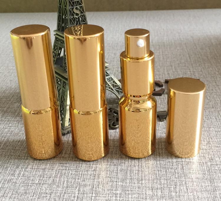 atacado vazio 10 ml alta temperatura banhado a ouro garrafa de locao com bomba vidro 10