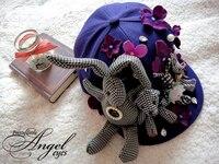 الأزياء الفريدة اليدوية أليس الأرانب زهرة شقة قبعة كاب خمر بنات القوطية تفصيل