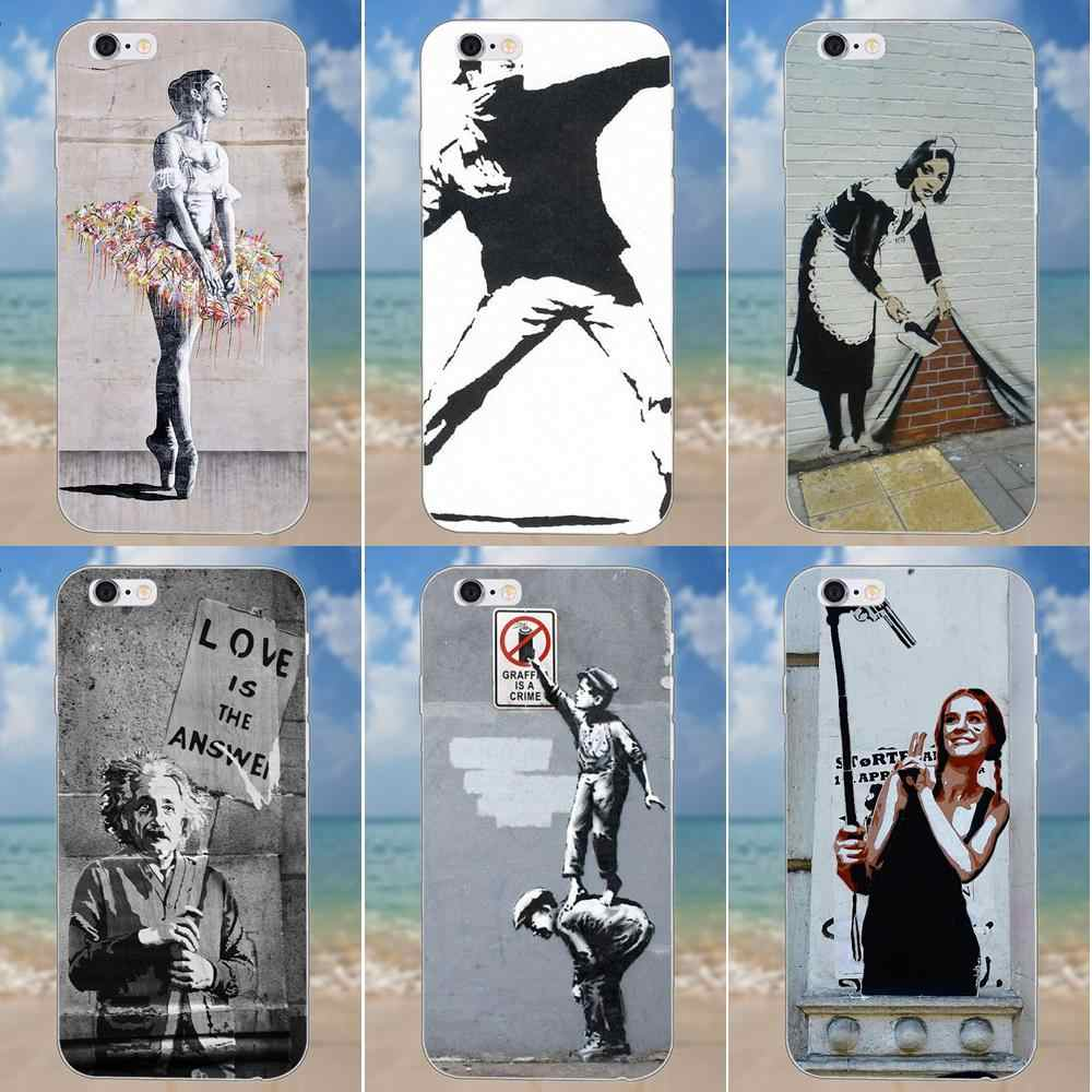 Para iPhone 4X4 4S 5 5C SE 6 6 S 7 8 Plus Galaxy S5 S6 S7 S8 Grand fundas de cubierta suave Core II Prime Alpha Banksy Graffiti