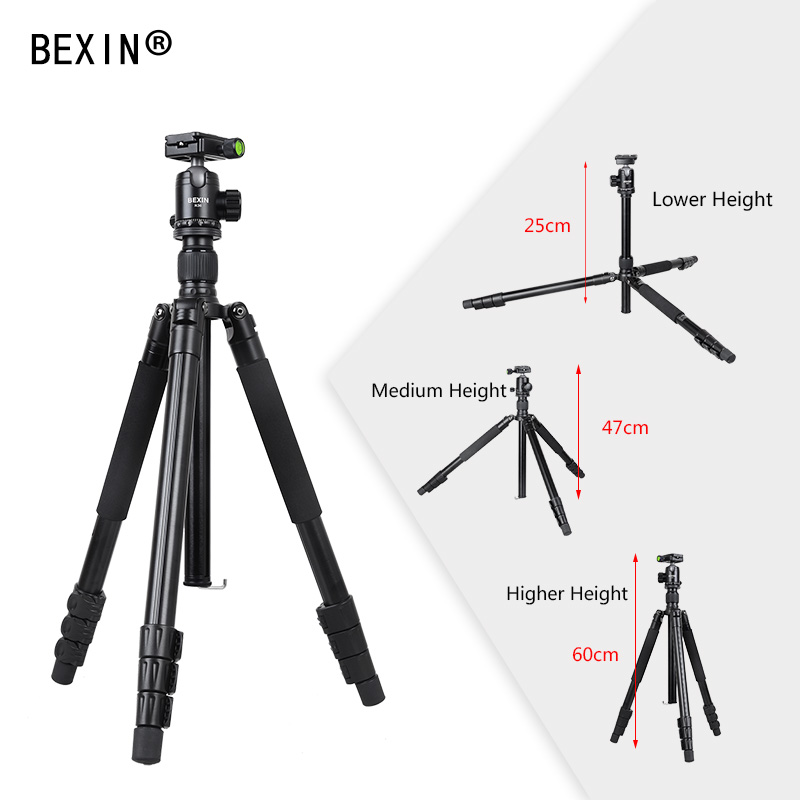 BEXIN Professional Aluminum tripod Portable Travel Compact System Horizontal Tripod with ball head For Canon SLR DSLR Cameras bexin lightweight camera tripod aluminum desktop photography compact mini tripod with swivel ball head for canon dslr camera