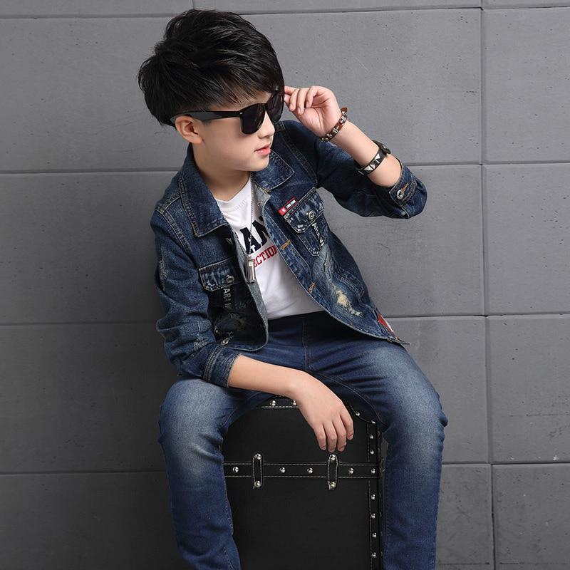 цена  2pcs Boys Denim Jacket & Boys Jeans Clothing Set Boy Outerwear Denim Pant Boys Clothes for 3 4 6 8 10 12 13 Years Old RKS175002  онлайн в 2017 году