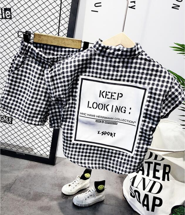 Summer Fashion Baby Boys Clothes Set Short Sleeve Shirt Plaid Suit For Boys Children Clothing Cotton Costume For Kids Suits