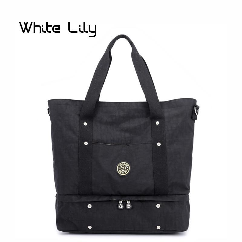 Fashion Ladies Nylon Traveling Bags Women Yoga Gym Bag Travel Tote Shoulder Bag Waterproof Large Capacity Crossbody Bag