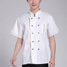 New Arrival Short Sleeve Kitchen Cooker Working Uniform Chef Jacket Double Breast Waiter Waitress Coat Cooking Clothes(China)