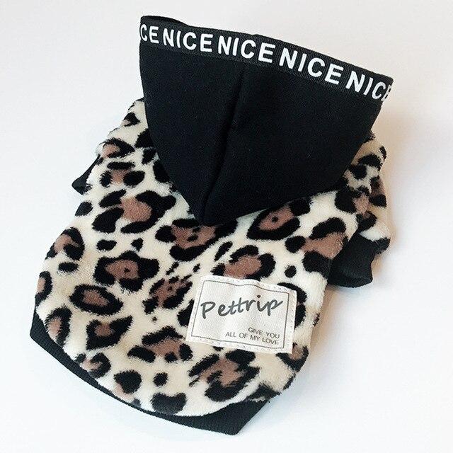 Caldo cappotti del cane con Cappellini del leopardo di stampa di due piedi pet g