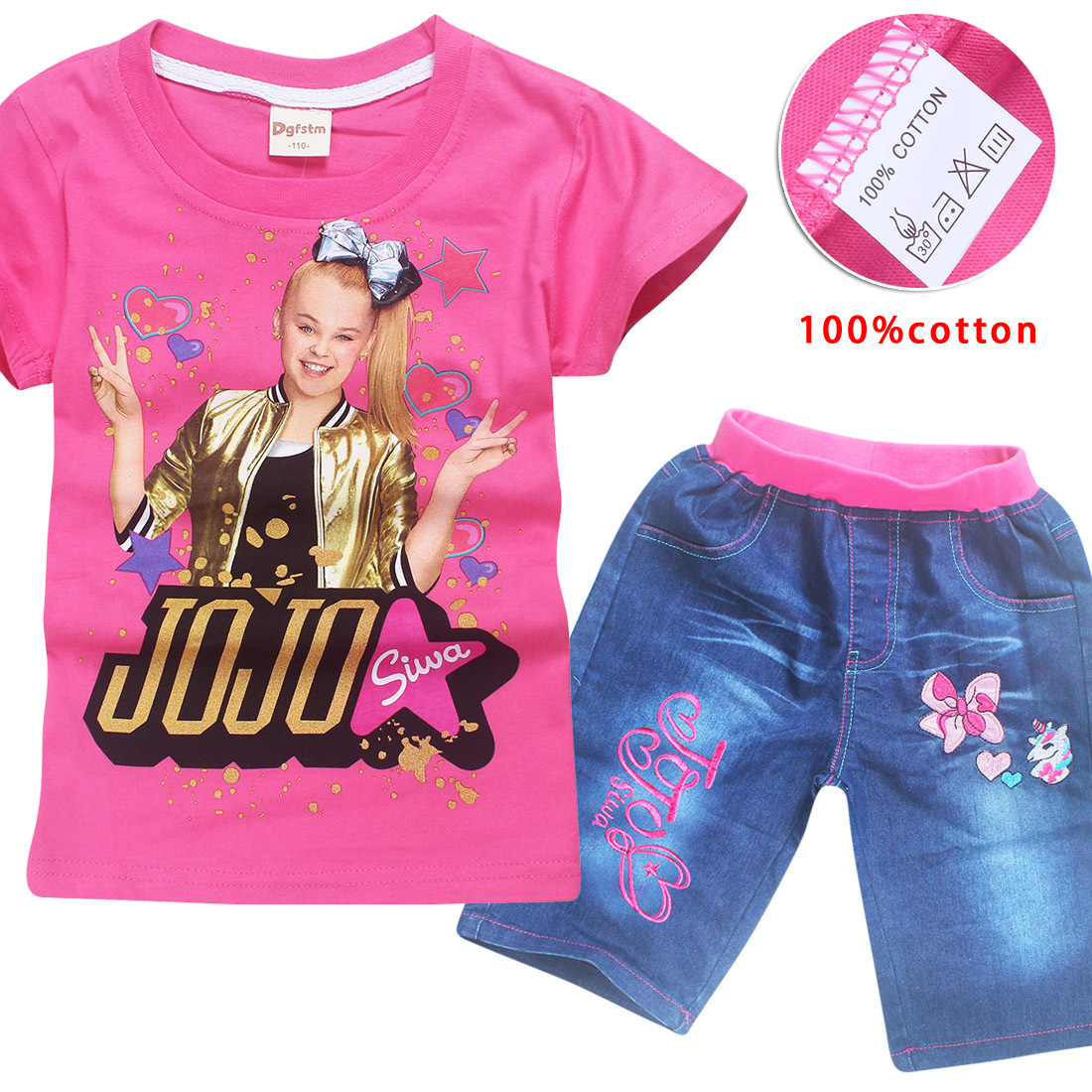 4-12y Quick Denims + Cotton Tshirt Child Women Clothes Set for Youngsters 2018 Summer season Youngsters Tracksuits Costume Jojo Siwa Sport Fits Clothes Units, Low cost Clothes Units, 4...