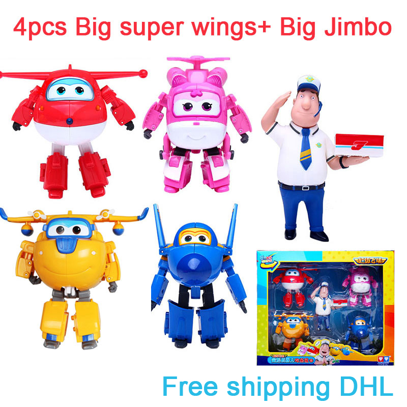 Free Shipping DHL 5pcs/set Big Super Wings Deformation Airplane Robot Action Figures Super Wings Transformation Jet toys