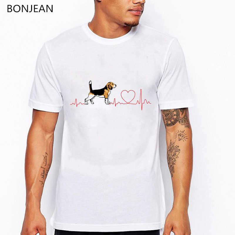 Divertente ECG Beagle Disegno di amore T-Shirt uomini di Modo di Estate tee shirt homme Novità Beagle Cane Della Stampa Della maglietta Pantaloni A Vita Bassa Fresco Casual magliette e camicette
