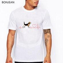 Funny EKG Beagle love Design T-Shirt men Summer Fashion tee shirt homme Novelty Dog Print tshirt Hipster Cool Casual Tops