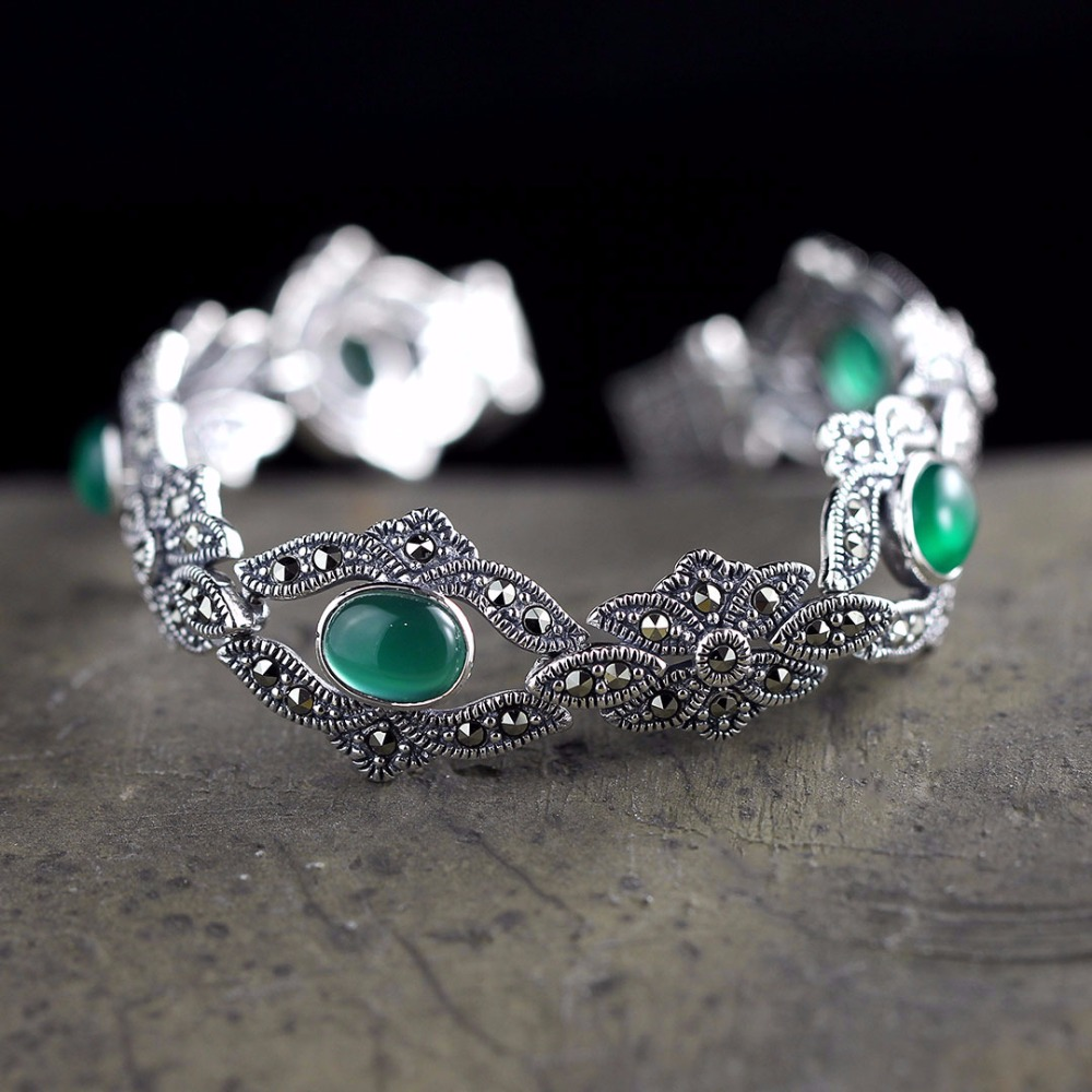 Hot Sale Real Silver Green Gems Silver Bracelet Handmade Lady S925 Pure Silver Bracelet Classic Thai Silver Beautiful Bracelets Hot Sale Real Silver Green Gems Silver Bracelet Handmade Lady S925 Pure Silver Bracelet Classic Thai Silver Beautiful Bracelets