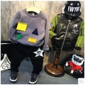 Korean children 2016 boys winter clothing new geometric pattern cloth with cashmere coat thick children cute graphics
