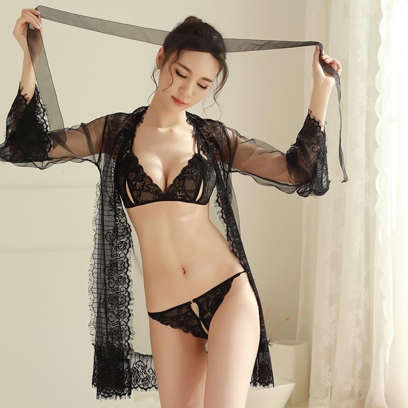 Sexy Lace Robe Lady Porn See Though Lingerie Bath Robes With Bra Set Women Porn Bathrobe Bridesmaid Robe Set Underwear Women