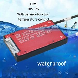 Image 2 - 10S 36 فولت بطارية ليثيوم لوح حماية BMS درجة الحرارة التحكم التوازن وظيفة مقاوم للماء 18650 يبو لي أيون 15A تهمة PCM