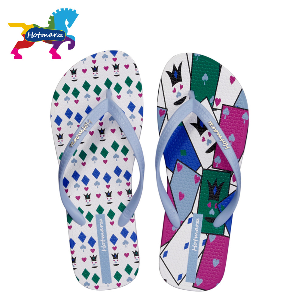Hotmarzz Women Summer Poker Cards Selipar Pantai Flip Flops Ladies Fashion Flat Thong Sandals Slip Kolam Bukan slip