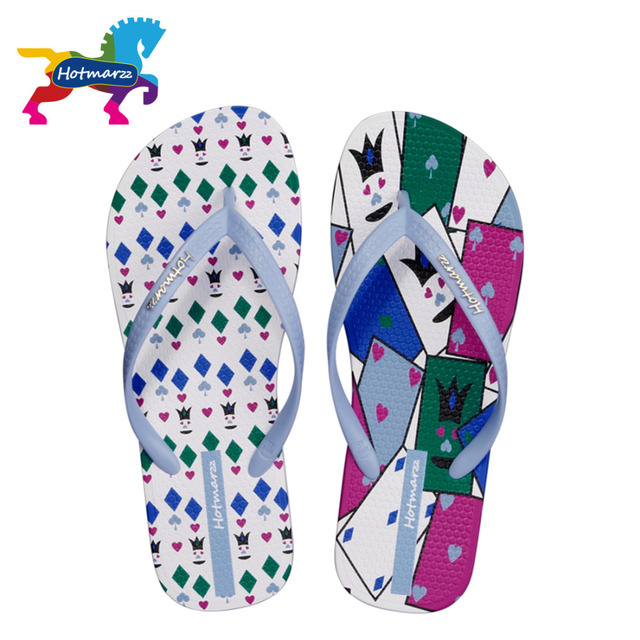 a10b36009b0c76 Hotmarzz Women Summer Poker Cards Slippers Beach Flip Flops Ladies Fashion Flat  Thong Sandals Non-slip Pool Slides