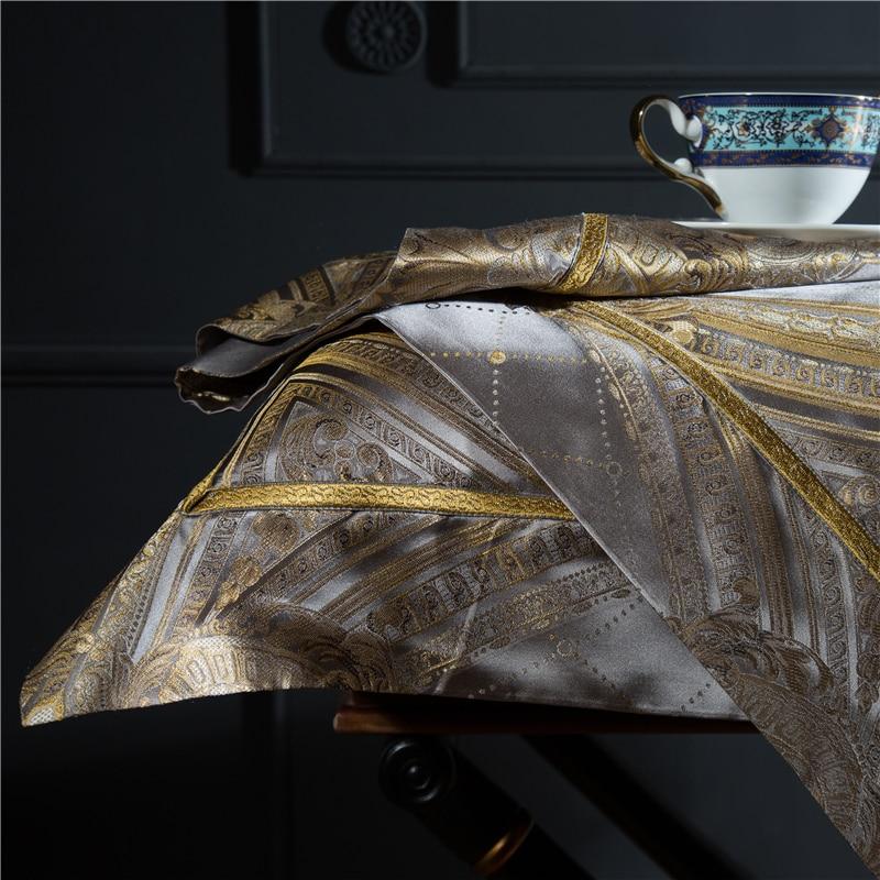 King Size 28 4 Momme Seda Amoreira Conjuntos de Peças de Cama Fios Tingidos Jacquard de Seda Quilt Cover Folha de Cama Fronha dourada Barroca - 3