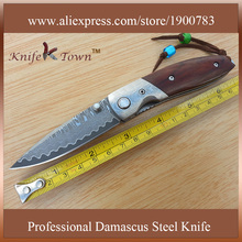 DS049 Vg10 damascus steel blade dimple rosewood and damascus steel handle camping knife utility pocket knife survival knife