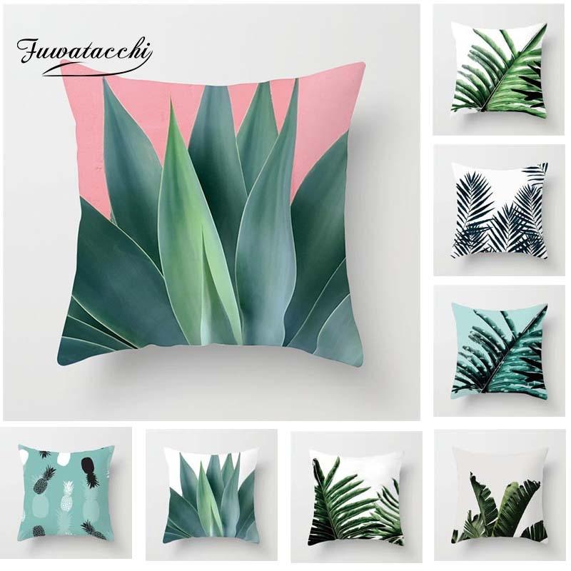 Fuwatacchi plantes succulentes housse de coussin feuilles de palmier housse d'oreiller pour canapé voiture maison chambre décoration doux carré blanc couverture