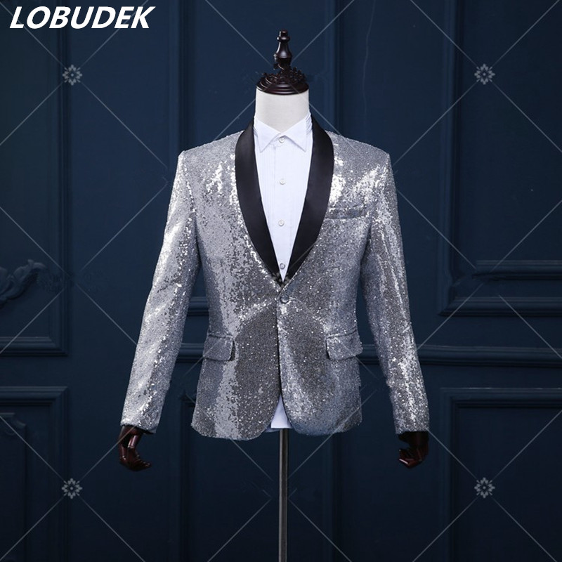 Gümüş blazer düğün damat ceket dış giyim erkek giyim - Erkek Giyim - Fotoğraf 1