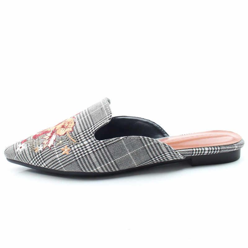 KATELVADI Frauen Flache Schuhe Marke 2019 Mode Maultiere Für Frauen Baumwolle Stoff Gingham Spitz Slip Auf Frauen Pantoffel K-409