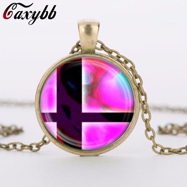 2018 charms necklaces Super Smash Bros Ball Pink and Black Pendant Glass Domechoker pendants Jewelry FTC-N460 1