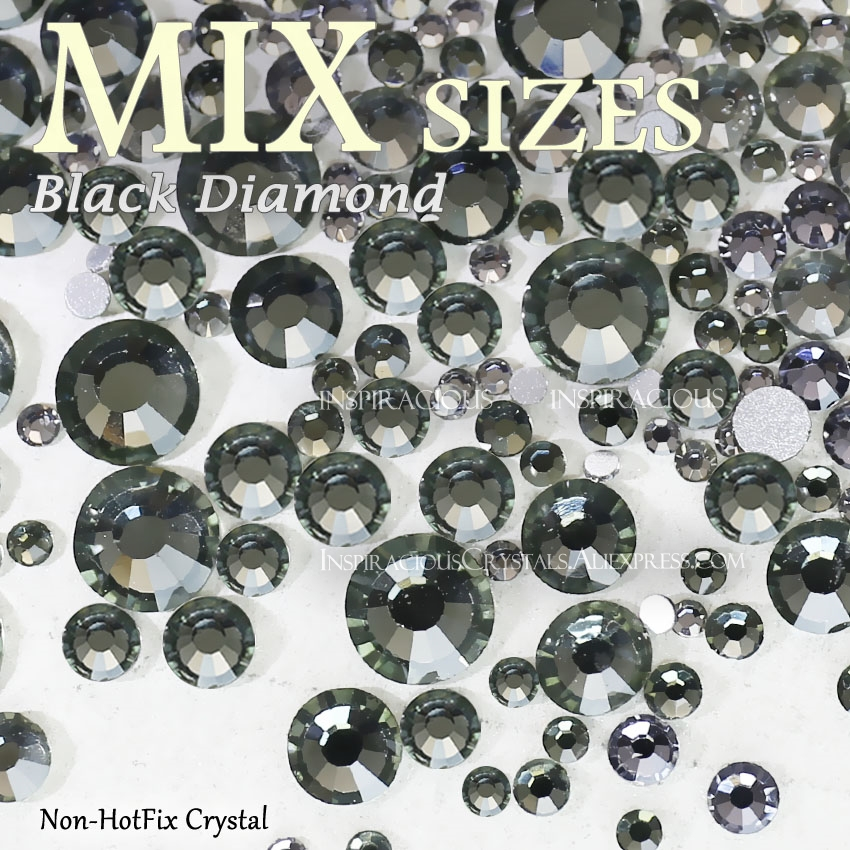 Mix Sizes SS3-SS30 Black Diamond Nail design Rhinestones manicure crystals for sequins nails art decorations Non HotFix glitters unfoiled mix sizes 1440pcs crystal