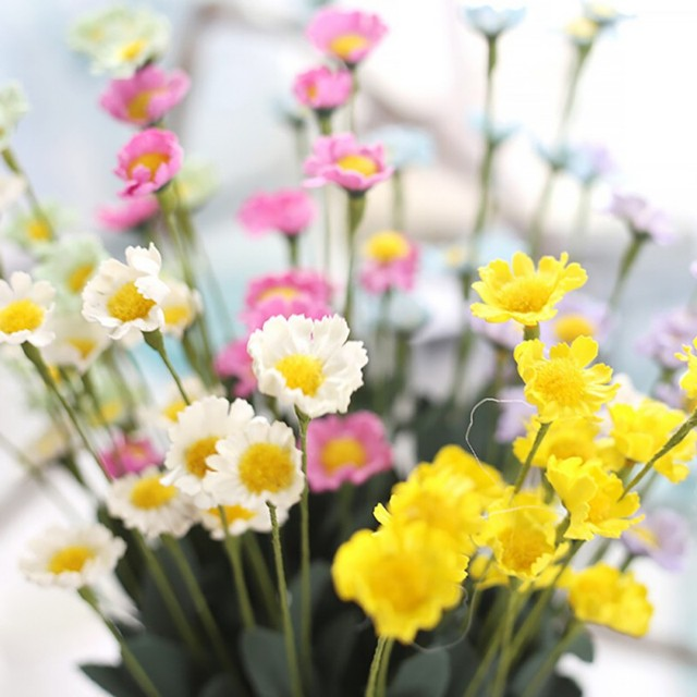 New Arrival 15 Artificial Flower Flores Heads Daisy Flower Bouquet ...